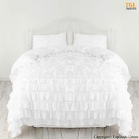 100% Egyptian Cotton Bedding Full/Queen Size Waterfall Ruffle Duvet Cover White