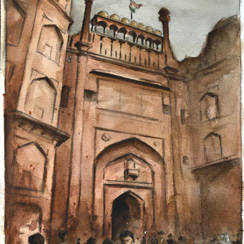 India Fort Painting Watercolor 10x14