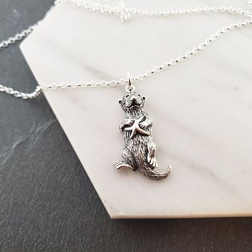 Sea Otter Charm - Sterling Silver Necklace - Gift for Her