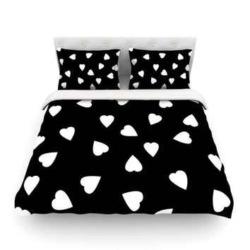 "Suzanne Carter ""Hearts White"" Black Featherweight Duvet Cover"