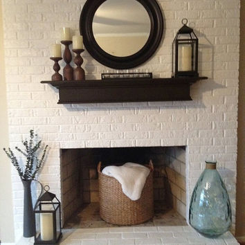 "Dark Expresso Brown Mantle, 48""L  Floating Shelf, Wall Hanging, Fireplace Mantel"