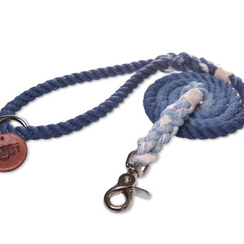 Denim Blue Ombré Rope Dog Leash