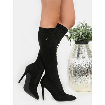 Pointy Toe Lace Up Stiletto Boots BLACK