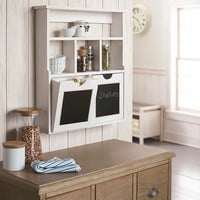 Wood Chalkboard Cubby with Drawers - White