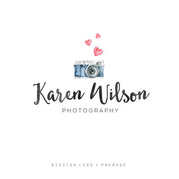 Premade logo - Photography Logo - Heart Logo - Watercolor Logo - Watermark - Logo Design - Blog Header