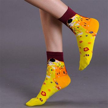 Painting Socks Famous Madam Women European Casual Vintage Classic Fashion Oil Lady Printed Female Cotton Tube Sock Art Sock W029