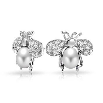 CZ Bumble Bee Black Freshwater Cultured Stud Earring Silver Plated
