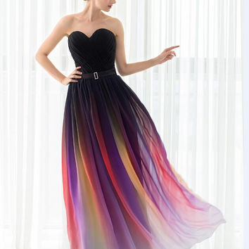 Cheap New Gradient Colorful Sexy Dresses Ombre Chiffon Prom Dress Evening Dress Strapless Pleats Women Formal Occasion Dress