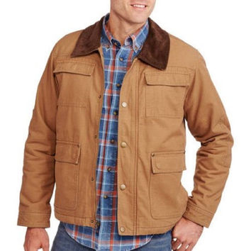 Wrangler Big Men's Canvas Jacket, Tan, 4XL