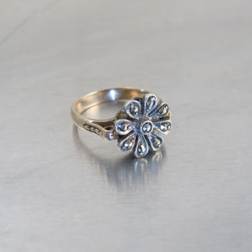 14K Victorian Cut Steel Flower Ring, Rose Gold Silver Stylized Flower Ring, Size 6, Unique Engagement Ring, Vintage Wedding Bridal Jewelry