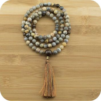 Crazy Lace Agate Meditation Mala with Bronzite