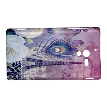 Peacock Feather White Rose Paris Eiffel Tower Sony Xperia ZL L35H Hardshell Case