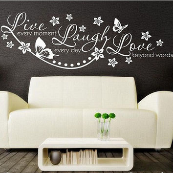 Vinyl Live Laugh Love Wall Art Sticker Lounge Room Quote Decal Mural Stencil Diy Decor Living Room Bedroom Office