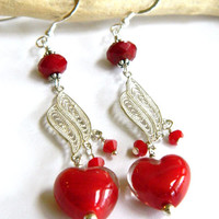 Red Glass Heart Valentine Earrings Handcrafted Silver Crystal Long Dangle