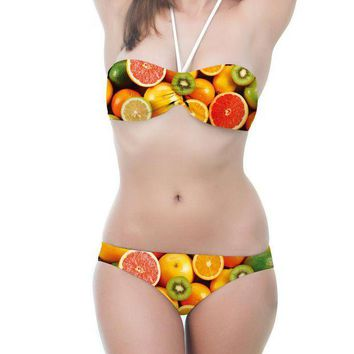 ESBON Fashion Backless Multicolor Fruit Print Halter Strapless Bikini Set Swimsuit Swimwear