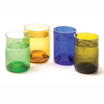 Oenophilia Recycled Glass Wine Bottle Tumblers Assorted Colors - Set of 4