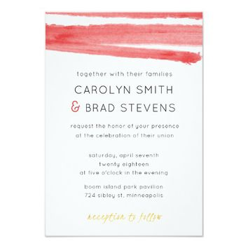 Coral Pink Watercolor Wedding Invitation