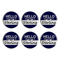 Sterling Hello My Name Is Plastic Resin Button Set of 6