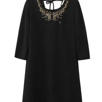 Black Embroidered Round Neckline Lace-up Dress