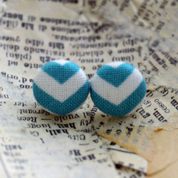 Chevron Earrings, Chevron Fabric Button Earrings, Chevron Fabric, Aqua Chevron, Party Favors, Birthday Gift