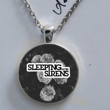 Sleeping with Sirens rock band logo necklace, glass pendant cabochon, fan, fan made, galaxy, fanatic