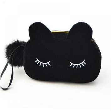 Portable Cartoon Cat Travel Cosmetic Bag