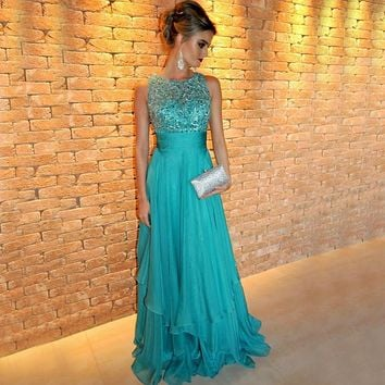 Elegant O Neck Chiffon Long Prom Evening Dresses 2017 Gown Beaded Embroidery Luxury Turquoise Evening Dress Vestido De Fiesta