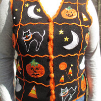 SALE!!! halloween vest, halloween clothes, halloween sweaters, tacky sweater, tacky vest, holiday clothes, holiday vest, cute halloween