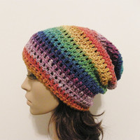 Slouch Beanie  Psychedelic  READY TO SHIP by ReeniesCrochet
