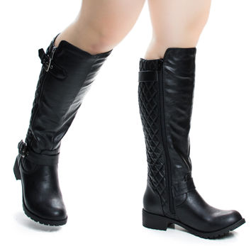Tale Black Pu by Soda, Women Fashion Equestrian Inspired Riding Biker Boots w Quilted Pattern