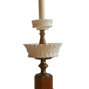 Hobnail Milk Glass Lamp Hobnail Milkglass Lamp Milk Glass Candy Dish Hobnail Candy Dish Milk Glass Lighting Milk Glass Light Table Lamp 70s