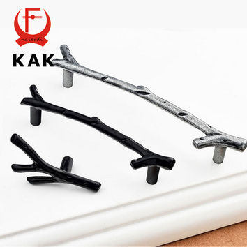 KAK Creative Black Silver Tree Branch Handles 94mm 128mm Kitchen Cabinet Drawer Door Handles Pulls Knobs  Furniture Hardware