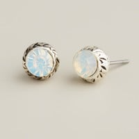 Small White Opal Stud Earrings - World Market