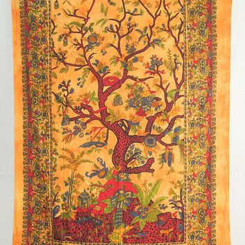 Tree Of Life Wall Art, Indian Tapestry, Bohemian Tapestry, Hippie Wall Hanging, Picnic Blanket, Indian Bed Cover Or Bedspread Boho gypsy