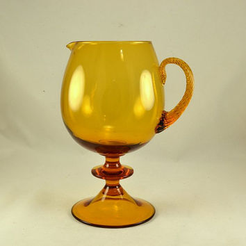 Amber Glass Pitcher - Pedestal Style  - Empoli Italy - Applied Twisted Handle - Rare - Large Heavy - Sangria - Holiday Table