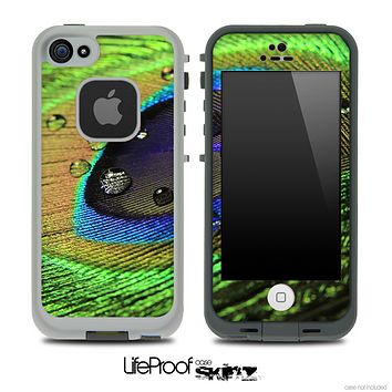 Vibrant Peacock Droplet Skin for the iPhone 5 or 4/4s LifeProof Case