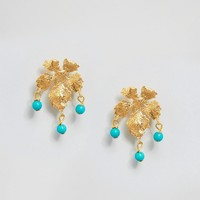 Ottoman Hands Small Leaf Earrings