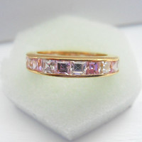 Vintage Sterling Silver Pink and White CZ Eternity Ring Size 6.75