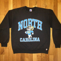 vintage north carolina tar heels crewneck russell size large