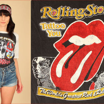 Rolling Stones T-Shirt RARE ViNtAgE 80's 1981 Tattoo You Rock Tee Black White Raglan Sleeve The British Are Coming M Medium