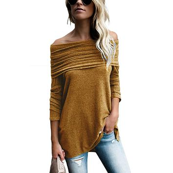 Mustard Ruched Off Shoulder Long Sleeve Top