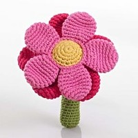 Pink Flower Fair Trade Knitted Baby Rattle