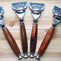 Gift set of 4  hardwood razors in Cocobolo for the Gillette Fusion