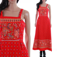 70s Quilted Maxi Dress Boho Folk Red Paisley Apron Dress Long Summer 1970s Vintage Clothing Womens Size Small