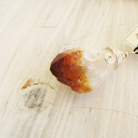 Citrine Gemstone Raw Cut stone Wire Wrapped Sterling Silver Pendant