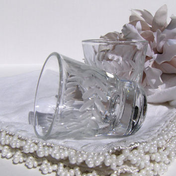 Vintage Etched Shot Glass Set of 2 Glasses