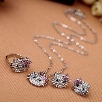 Cute Crystal Kitty Ring + Necklace + Earrings Jewelry Set