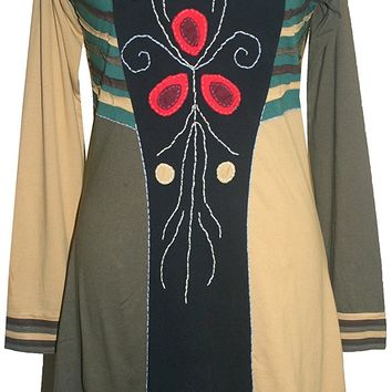 DR 656 Agan Traders Patches Gypsy Knit Cotton Misses Junior Mid Dress