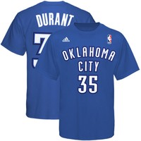 adidas Oklahoma City Thunder #35 Kevin Durant Royal Blue Game Time Player T-shirt
