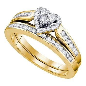 10kt Yellow Gold Women's Diamond Heart Bridal Wedding Engagement Ring Band Set 1/2 Cttw - FREE Shipping (US/CAN)